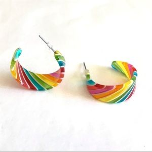Lucid Rainbow Striped Colored Hoop Earrings